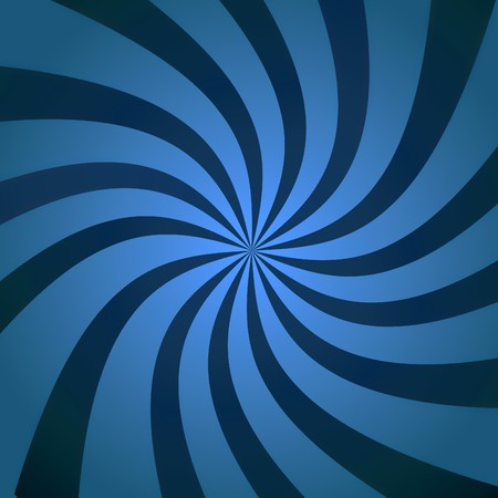 Abstract blue background illustration of twisty white and blue stripes with a radial gradient. illustration