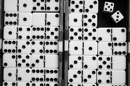 Closeup of a dominoes laying on a flat surface. Stock Photo - 6974991