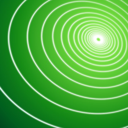 Green illustration graphic of thin white lines spiraling into green light