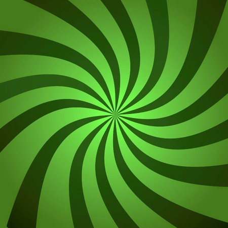 Funky abstract green background illustration of twisty green stripes with a radial gradient.