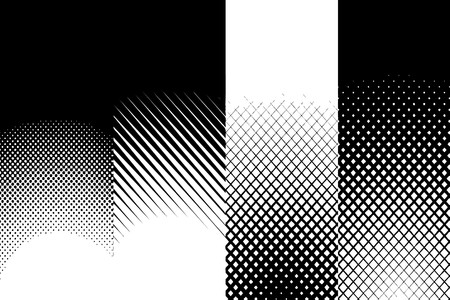 halftone: A collection set of four black and white halftone patterns.