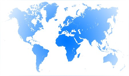 Silhouette graphic of a world map illustration on blue background illustration