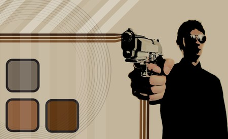 aviators: Retro 70s thug gangster holds his firearm up at gunpoint with oldschool brown graphic design patterns around him making a background
