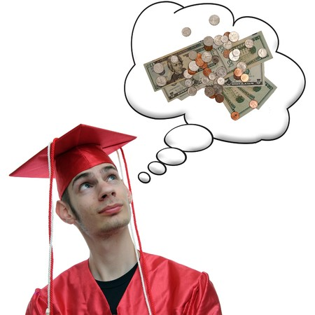 obtain: Highschool, university, or college graduate thinks about the debt he has and the money he will soon obtain now that he has a degree.
