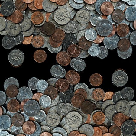 A whole bunch of American coins piled on top of one another to make this background. Isolated on black copyspace with room for your design or text. Stock Photo - 7216308