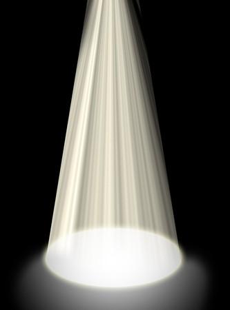 Abstracte achtergrond van een licht schijnen op de vloer geïsoleerd op zwart.