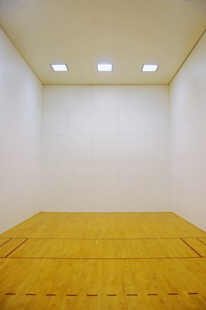 Large empty room with a wooden floor and white wooden tile walls with square lights on the ceiling and lots of open blank empty space. Stock Photo - 7216327