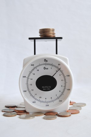 A bunch of coins and change on a weighing scale. Stock Photo - 7243991