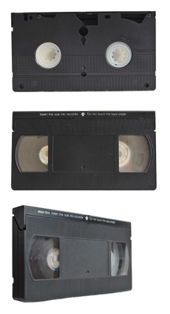 VHS tape collection set isolated on pure white background photo