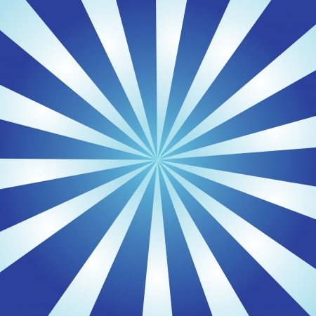 Blue and white burst of striped rays with a radial gradient.