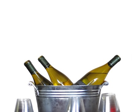 Three wine bottles in a tin bucket isolated on white. Stock Photo - 7393540