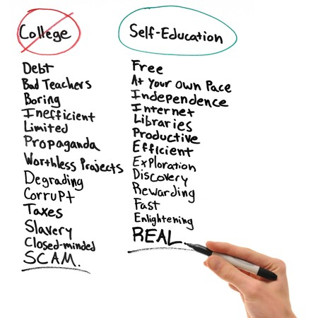 Hand writing the disadvantages of college and the advantages of self-education. photo