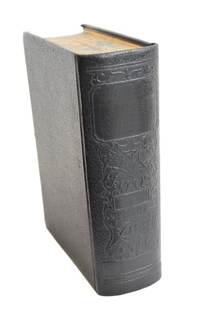 book: Very old hardcover antique book isolated on a white background