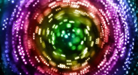 spinning: A rainbow swirl of lights spinning around.