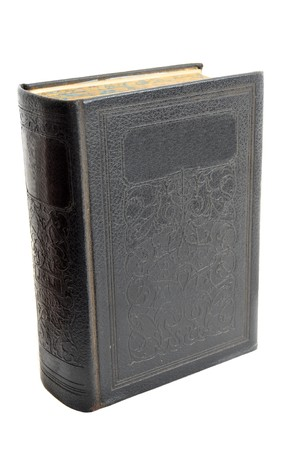 hardcover: Very old hardcover antique book isolated on a white background
