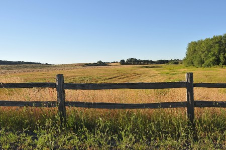 pasture fence: An old wood fence with a green country field behind it.