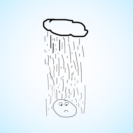 A sad and depressed cartoon charactor sighs as he gets rained on by a cloud right above him. photo