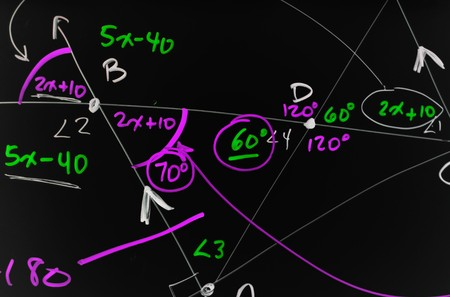 algebraic: Several complex mathematical formulas, equations, and geometry written on a smooth black board.