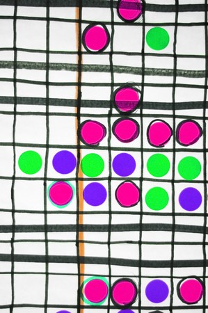 delineate: Abstract graph chart with colored stickers filling in boxes with some lines
