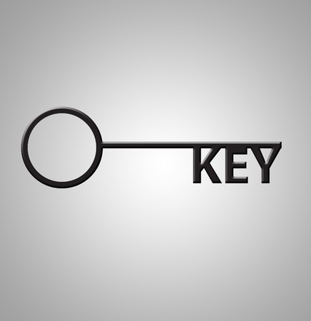 pivotal: This is an illustration of the word Key as keys on a key Stock Photo
