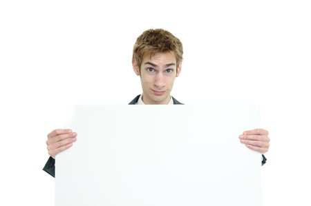 Young businessman holding a white cardboard sign with copyspace above and below Stock Photo - 7618069