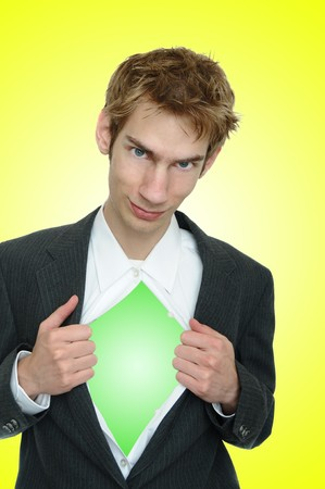 opens: Business man wearing a classic business suit opens it up to reveal nothing! Lemon lime colors.