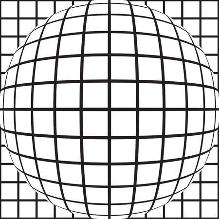 A grid of squares distorted and bulging black and white