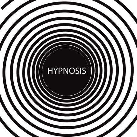 hypnotique: Le mot hypnose dans une spirale de noir et blanc hypnotique co?teuse Banque d'images