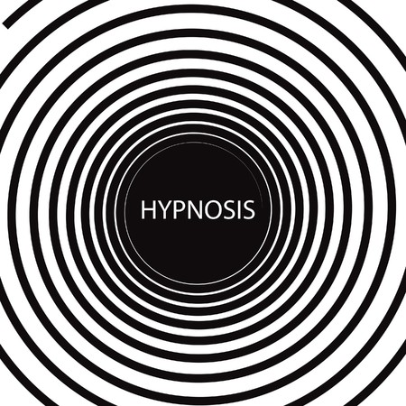 The word Hypnosis inside a consuming hypnotic black and white spiral