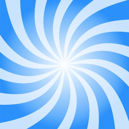 Abstract blue background illustration of twisty white and blue stripes with a radial gradient.