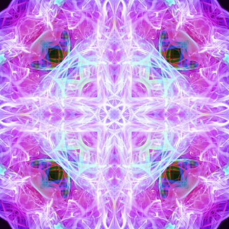 Abstract smoke or dye on isolated with complex glowing purple patterns. photo