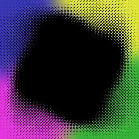 Black halftone pattern printed on four rainbow colors