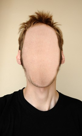 A man without a face. There is nothing on his head except white fleshy skin.