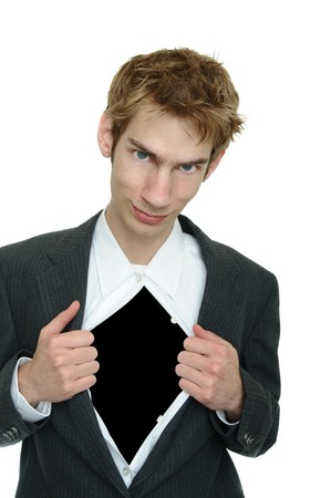 Business man wearing a classic business suit opens it up to reveal blank black copyspace Stock Photo - 7680112