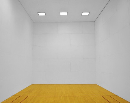 empty: Large empty room with a wooden floor and white wooden tile walls with square lights on the ceiling and lots of open blank empty space. Stock Photo