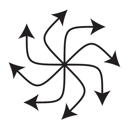 Eight arrows point around like a wheel on white background