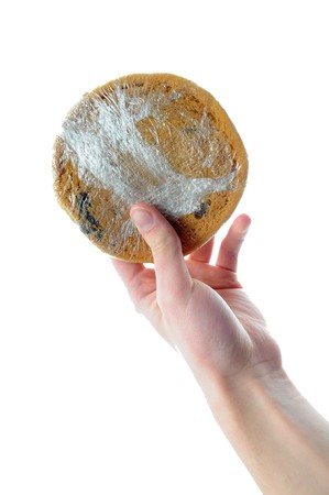 shrink wrapped: Hands holding shrink wrapped cookie isolated on white white background