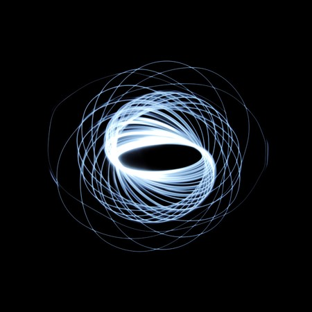 pendulum: Abstract long exposure physiogram pattern isolated on black background.