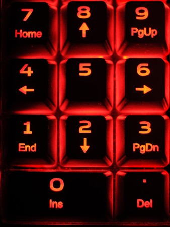 numpad: Closeup of a numpad illuminated on a computer keyboard