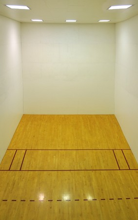 Large empty basketball court with a wooden floor and white wooden tile walls with square lights on the ceiling and lots of open blank empty space. photo