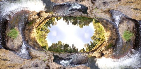 extreme angle: An earhtly rocky river with trees and sky with an extreme wide angle Stock Photo