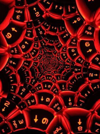 illuminated: Abstract computer keyboard with illuminated red keys.