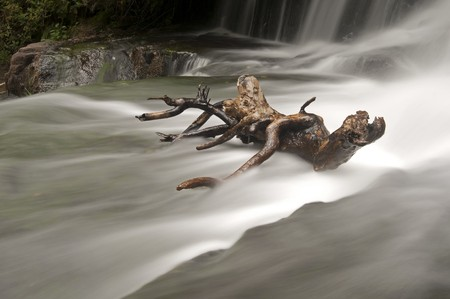 Long exposure of a waterfall with a wooden stick from a branch.