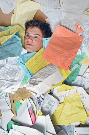 much: Young male student is overwhelmed by way too many homework assignments.