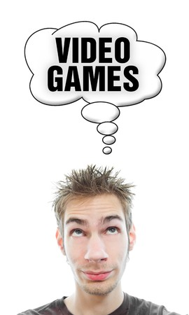 Young white Caucasian male adult thinks about video games in his think bubble isolated on white background photo