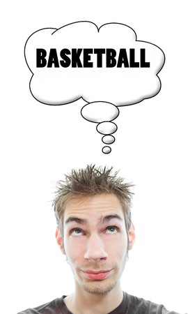 Young white Caucasian male adult thinks about basketball in his think bubble isolated on white background Stock Photo - 8087924