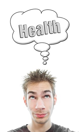 Young white Caucasian male adult thinks about health in his think bubble isolated on white background Stock Photo - 8087927