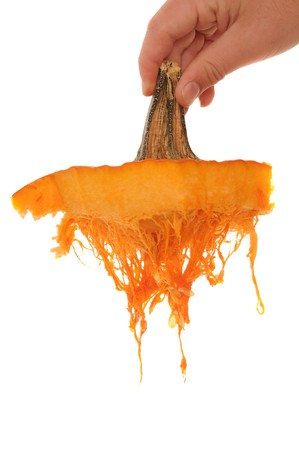 photomanipulation: Orange pumpkin with all the stringy squash hanging down isolated on white background. This image can be used in photomanipulation for moss and muck. It can also be placed underneath a neck to make it look like the head has been ripped off.