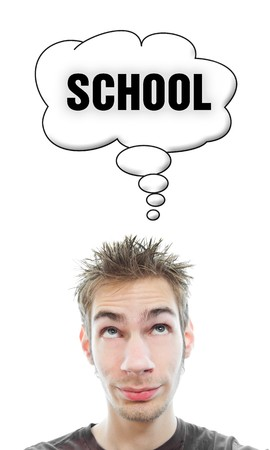 Young white Caucasian male adult thinks about school in his think bubble isolated on white background Stock Photo - 8138971