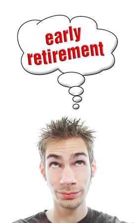 smirk: Young white Caucasian male tennager thinks about early retirement in his think bubble isolated on white background
